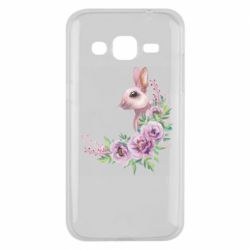 Чехол для Samsung J2 2015 Hare in profile with flowers