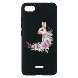 Чехол для Xiaomi Redmi 6A Hare in profile with flowers