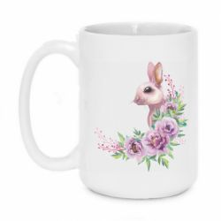 Кружка 420ml Hare in profile with flowers