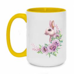 Кружка двухцветная 420ml Hare in profile with flowers