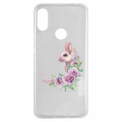 Чехол для Xiaomi Redmi Note 7 Hare in profile with flowers