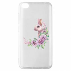 Чехол для Xiaomi Redmi Go Hare in profile with flowers