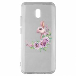 Чехол для Xiaomi Redmi 8A Hare in profile with flowers