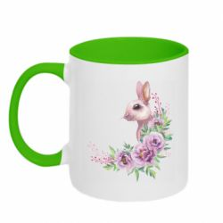 Кружка двухцветная 320ml Hare in profile with flowers