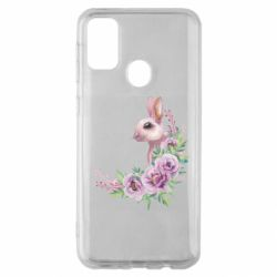 Чехол для Samsung M30s Hare in profile with flowers