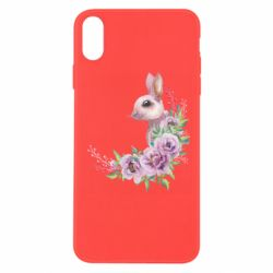 Чехол для iPhone X/Xs Hare in profile with flowers