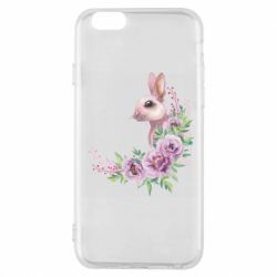 Чехол для iPhone 6/6S Hare in profile with flowers