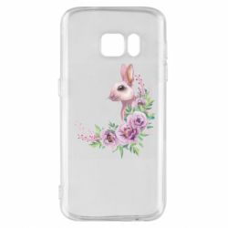 Чехол для Samsung S7 Hare in profile with flowers