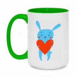Кружка двухцветная 420ml Hare with a heart