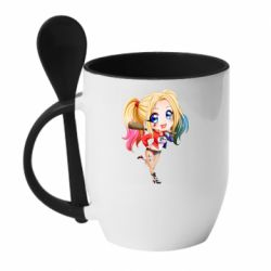 Кружка з керамічною ложкою Harley quinn anime about tits
