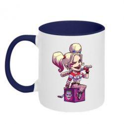 Кружка двухцветная Harley Quinn1