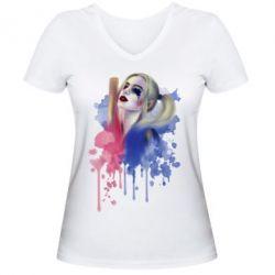 Женская футболка с V-образным вырезом Харли Квин акварель