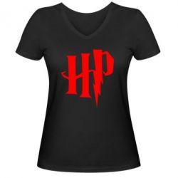 Жіноча футболка з V-подібним вирізом Harry Potter logo 1