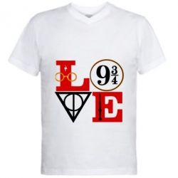 Чоловіча футболка з V-подібним вирізом Harry Potter love