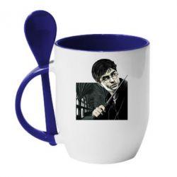 Кружка с керамической ложкой Harry Potter