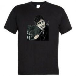 Мужская футболка  с V-образным вырезом Harry Potter