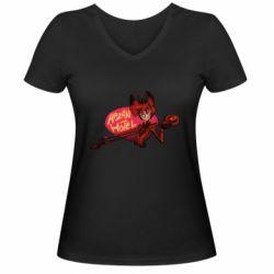 Женская футболка с V-образным вырезом Hazbin Hotel