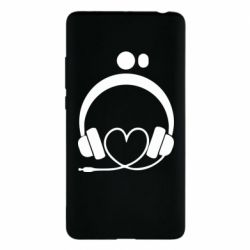 Чехол для Xiaomi Mi Note 2 Headphones and heart - FatLine