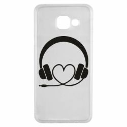 Чехол для Samsung A3 2016 Headphones and heart - FatLine