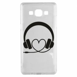 Чехол для Samsung A5 2015 Headphones and heart - FatLine