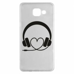 Чехол для Samsung A5 2016 Headphones and heart - FatLine
