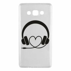 Чехол для Samsung A7 2015 Headphones and heart - FatLine