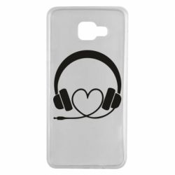 Чехол для Samsung A7 2016 Headphones and heart - FatLine