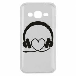 Чехол для Samsung J2 2015 Headphones and heart - FatLine
