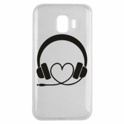 Чехол для Samsung J2 2018 Headphones and heart - FatLine