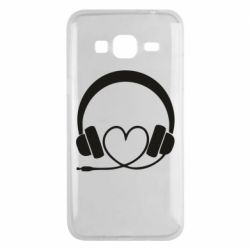 Чехол для Samsung J3 2016 Headphones and heart - FatLine