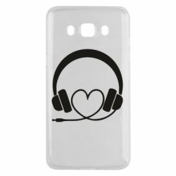 Чехол для Samsung J5 2016 Headphones and heart - FatLine