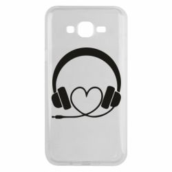 Чехол для Samsung J7 2015 Headphones and heart - FatLine