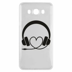 Чехол для Samsung J7 2016 Headphones and heart - FatLine