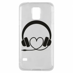 Чехол для Samsung S5 Headphones and heart - FatLine