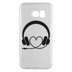 Чехол для Samsung S6 EDGE Headphones and heart - FatLine