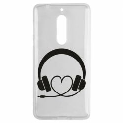 Чехол для Nokia 5 Headphones and heart - FatLine