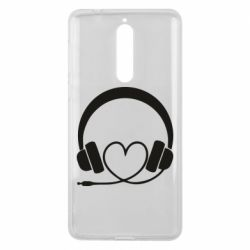 Чехол для Nokia 8 Headphones and heart - FatLine