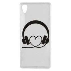 Чехол для Sony Xperia X Headphones and heart - FatLine