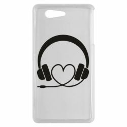 Чехол для Sony Xperia Z3 mini Headphones and heart - FatLine