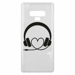 Чехол для Samsung Note 9 Headphones and heart - FatLine