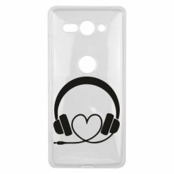 Чехол для Sony Xperia XZ2 Compact Headphones and heart - FatLine