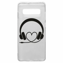 Чехол для Samsung S10+ Headphones and heart - FatLine