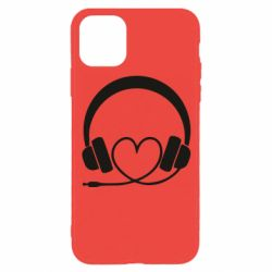 Чехол для iPhone 11 Pro Headphones and heart - FatLine
