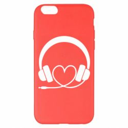 Чехол для iPhone 6 Plus/6S Plus Headphones and heart - FatLine