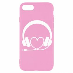 Чехол для iPhone 7 Headphones and heart - FatLine