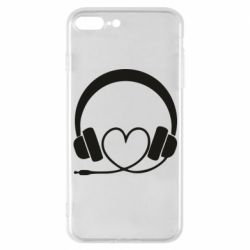 Чехол для iPhone 7 Plus Headphones and heart - FatLine