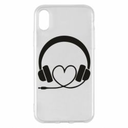 Чехол для iPhone X/Xs Headphones and heart - FatLine