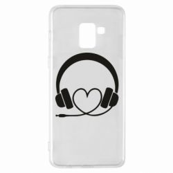 Чехол для Samsung A8+ 2018 Headphones and heart - FatLine