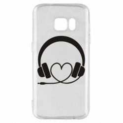 Чехол для Samsung S7 Headphones and heart - FatLine