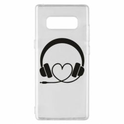 Чехол для Samsung Note 8 Headphones and heart - FatLine